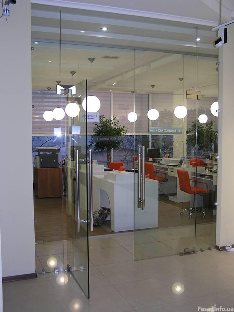 Офисные перегородки цельные стеклянные